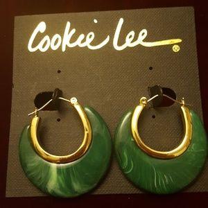 Cookie Lee gold and green marble look hoop earring